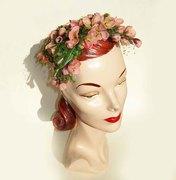Vintage 50s Bes-Ben Hat Pink Floral Dogwood Blossoms Cocktail Flowers