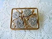 1920 Vintage Jewelry Art Deco Brooch Floral Gold Silver Rhinestones