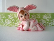 SOLD Pink Bunny Rabbit Porcelain Baby Figurine
