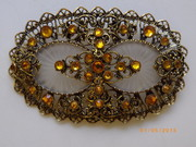 Cognac camphor glass brooch