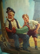 Grandpa with music box concertina squeeze box Billy Hy Hintermeister art print 8 x 11 size