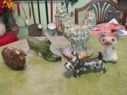Brass sheep, Fenton shoe, Stangl Hen, Japan Scottie, and a kitten.