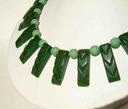 Carved Green Art Deco Bakelite Choker Necklace