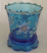 Hand painted gold trimmed blue small vase