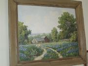 Framed scene oil on canvas