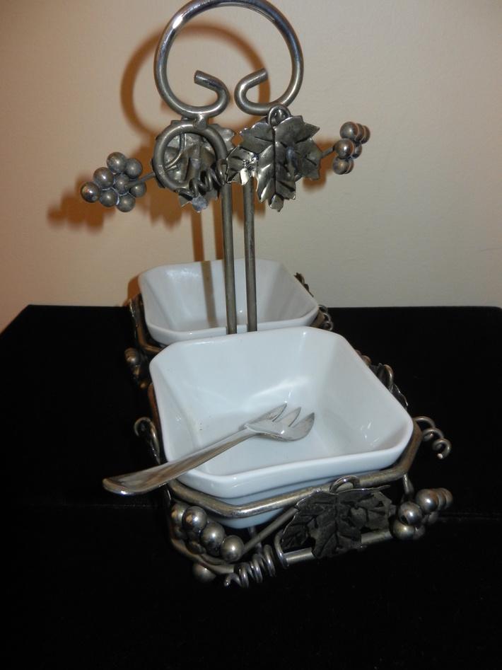 Vintage Silver Relish Tray - Silver Plated Relish Fork - Circa 1950 - $29.95 - Shipping $12.00