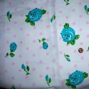 Vintage Polka Dot Rose Denim Fabric