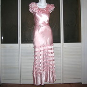 Vintage 1920s Ruffled Liquid Satin Evening Gown