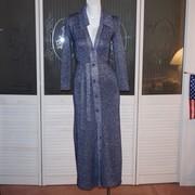 Vintage Nat Allen Blue Metallic Lame' Knit Gown