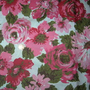 "Vintage Rose Print Cotton Drapery Fabric"""
