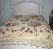 Vintage Italian Figural Bedspread Coverlet Hand Painted