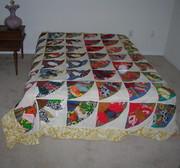 Vintage Fan Patchwork Quilt Top