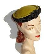 50's Chanda Olive Wool & Jet Beaded Hat