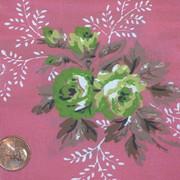 Vintage 1930s Satin Tafetta Rose Fabric