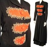 40's Art Deco Red & Black Cocktail Dress