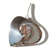 Modernist Sterling Silver & Ancient Roman Glass Brooch