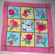 Vintage Jones New York Silk Scarf Square in Bright Floral Pattern
