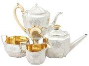 Georgian Sterling Silver Four Piece Tea Service - Queen Anne Style - Antique