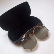 Vintage Art Deco Clip-on Sunglasses w/ Embossed Brass Frames