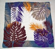 Vintage Anne Klein Silk Scarf Square in Jungle Leaf or Fern Print