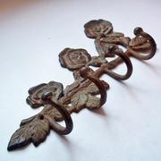 Vintage Solid Cast Brass Rose-Themed Coat Rack