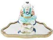 French Porcelain, Silver and Glass Inkwell - Antique Circa 1900