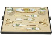 Sterling Silver, Cut Glass and Guilloche Enamel Dressing Table Set - Antique George V