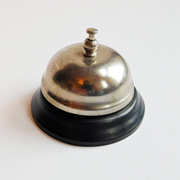 Vintage Front Desk Button Bell Painted Black - Top is Shiny Steel