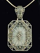 Sterling Silver with Marcasite Camphor Glass and Diamond