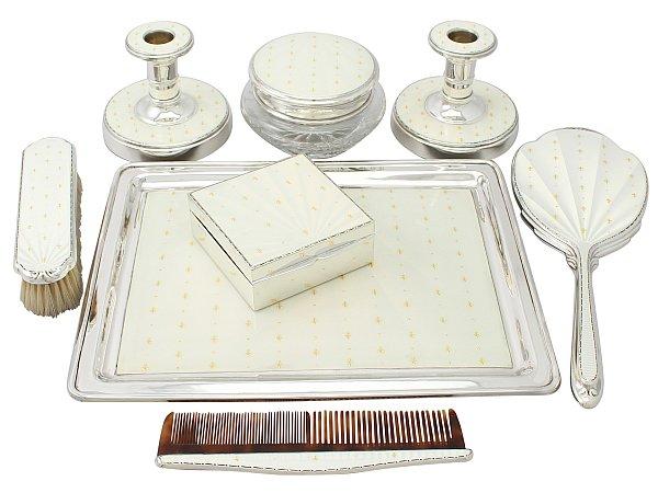 Sterling Silver and Enamel Dressing Table Boudoir Set - Vintage Elizabeth II