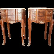 French Marquetry Side Tables with Marble Tops