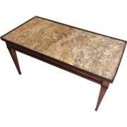 French Walnut Coffee Table with Marble Top