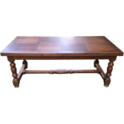 French Dining Table in Solid Oak with Extensions
