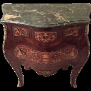 French Bombe Commode with Marquetry and Green Marble Top in Louis XV Style