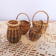 Lot of 4 Tiny Vintage Hand-Woven Wicker Baskets