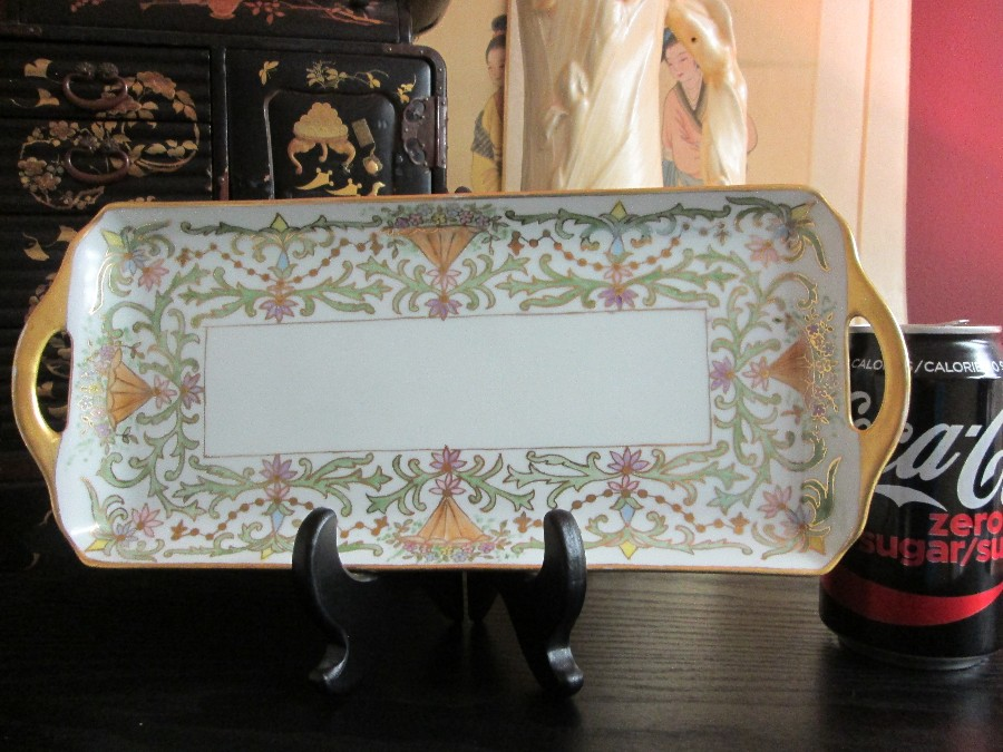 Vintage ARTIST SIGNED Hand Painted & Gold Gilt Dressing Table TRAY Vanity Decor