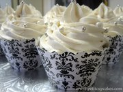 Couture Cupcake Wrappers - Damask Print Black and White