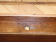 reclaimed trim, we did a shelf above all the doors and windows