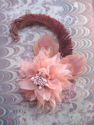 Pink Peacock Feather Fascinator