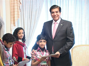 Microsoft certified professional Subhan Ali Syedcain Inam Ali Syedain & Rooam Syedain with prime minister of Pakistan