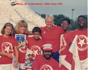 DCPR admin and Youth Games coach Roy Fagin in promo pic with DC team and Rowdy Gaines