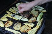 grilling zucchini, squash, potatoes, and steak