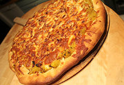 Squash, bacon, onion pizza