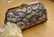 Ivory Satin with Navy Lace Overlay Clutch