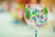 Father of the Bride hand painted wine glass ByBecca
