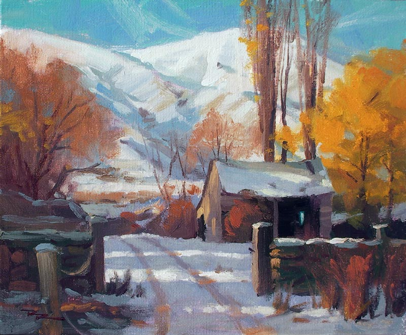 "Winter Barn - 8x10"" SOLD"
