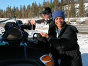 Tracy works the slate on Alaska Highway POV shoot