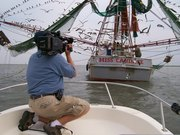 """Mark Adams filming the """"Miss Candace"""""""