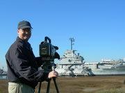 Mark Adams filming the USS Yorktown