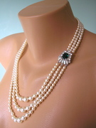 3 Strand Emerald and Pearl Bridal Necklace
